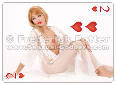 The Sensual Goddess Erotic Art Cards playing card deck - 2 of Hearts