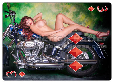 The Sensual Goddess Erotic Art Cards playing card deck - 3 of Diamonds