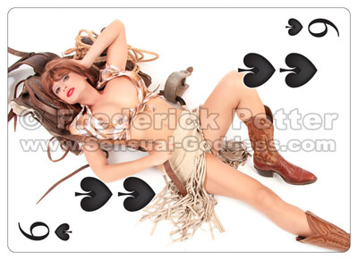 The Sensual Goddess Erotic Art Cards playing card deck - 6 of Spades