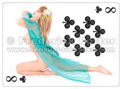 The Sensual Goddess Erotic Art Cards playing card deck - 8 of Clubs