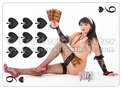 The Sensual Goddess Erotic Art Cards playing card deck - 9 of Spades