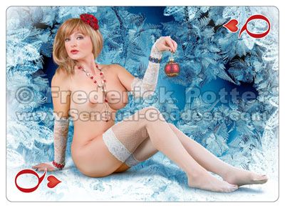 The Sensual Goddess Erotic Art Cards playing card deck - Queen of Hearts