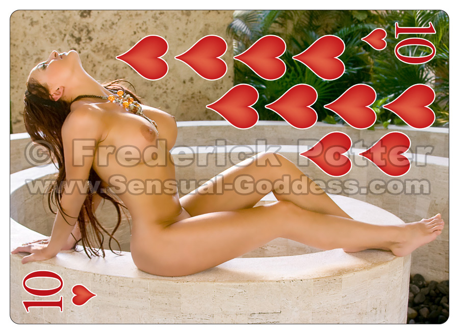 The Sensual Goddess Erotic Art Cards playing card deck - 10 of Hearts