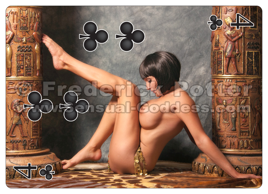 The Sensual Goddess Erotic Art Cards playing card deck - 4 of Clubs
